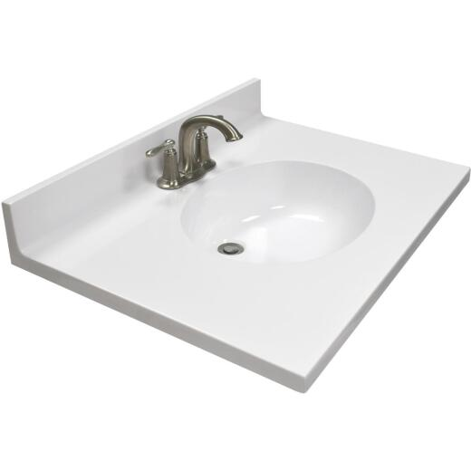 US Marble 31 In. W x 22 In. D Solid White Cultured Marble Vanity Top with Oval Bowl