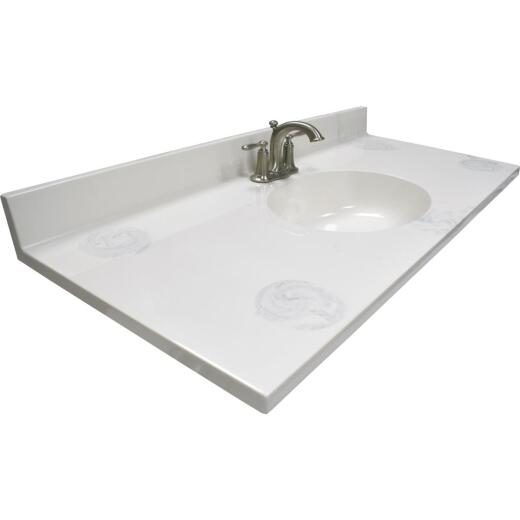 US Marble 49 In. W x 22 In. D Marbled Dove Gray Cultured Marble Vanity Top with Oval Bowl