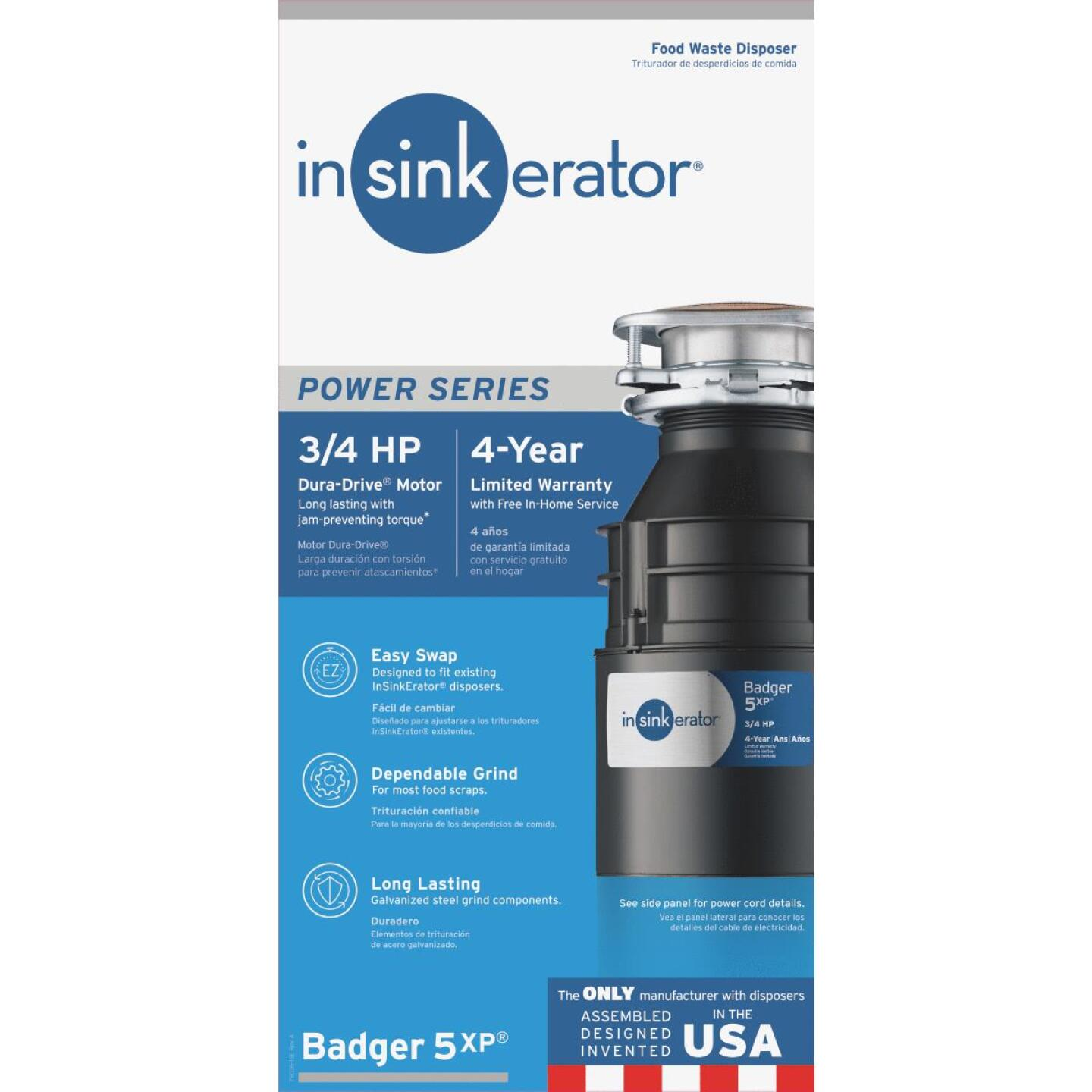 Insinkerator Badger 3/4 HP Dura-Drive Garbage Disposal, 4 Year Warranty Image 1