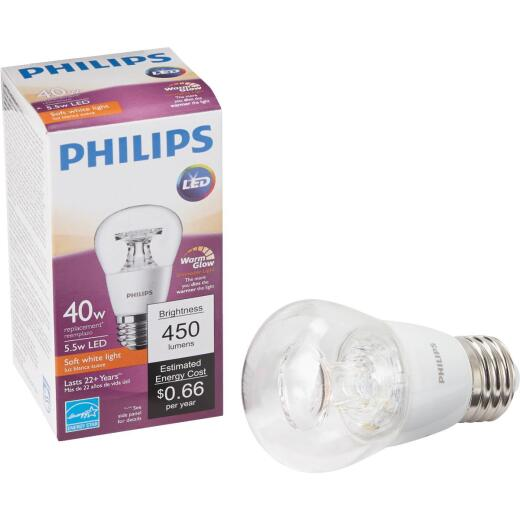 Philips Warm Glow 40W Equivalent A15 Medium Dimmable LED Light Bulb