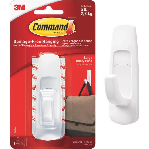 Command 1-1/4 In. x 3-7/8 In. Utility Adhesive Hook